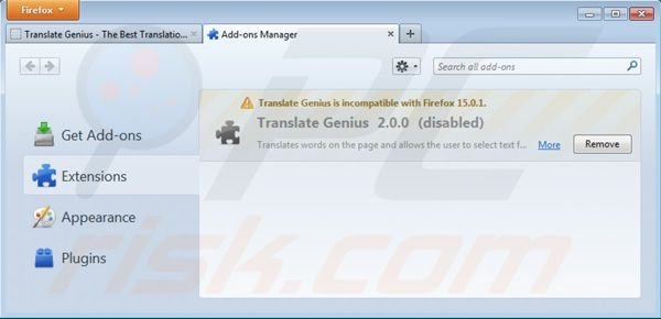 Removing Translate Genius from Mozilla Firefox extensions step 2