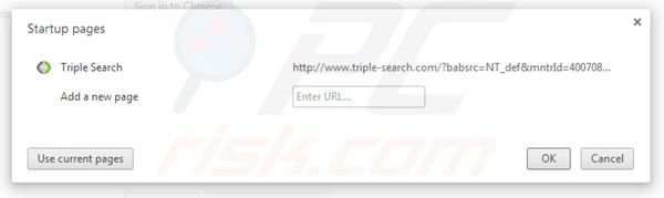 Removing triple-search.com from Google Chrome homepage