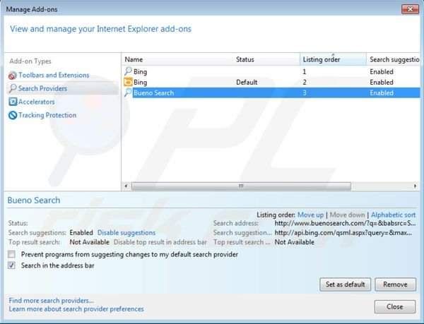 how to remove default search engine