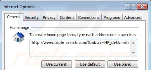 Removing triple-search.com from Internet Explorer homepage