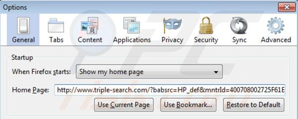 Removing triple-search.com from Mozilla Firefox homepage