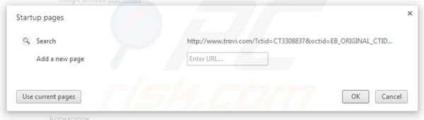 Removing trovi.com from Google Chrome homepage