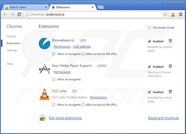 Removing vlc app virus from Google Chrome extensions step 2
