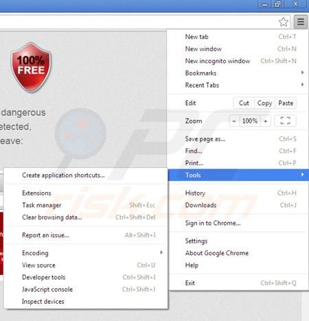 Removing Web Protect from Google Chrome step 1