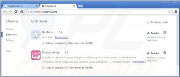 Removing Web Protect from Google Chrome step 2