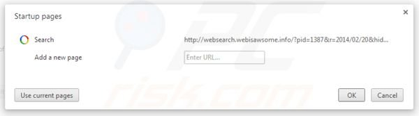 Removing websearch.webisawsome.info from Google Chrome homepage