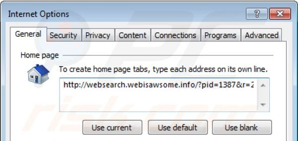 Removing websearch.webisawsome.info from Internet Explorer homepage