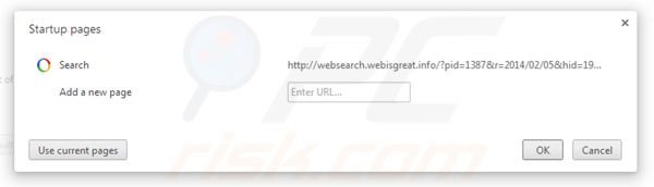 Removing websearch.webisgreat.info from Google Chrome homepage