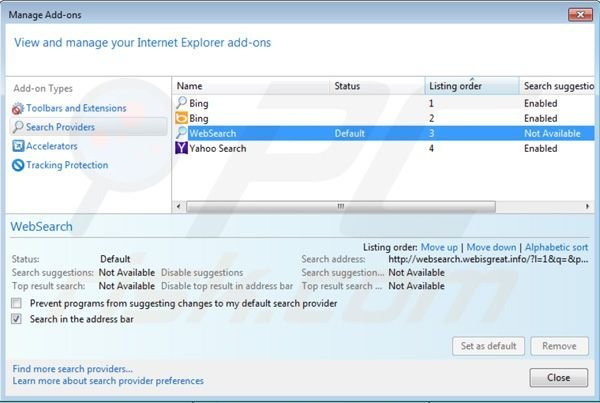 Removing websearch.webisgreat.info from Internet Explorer default search engine settings