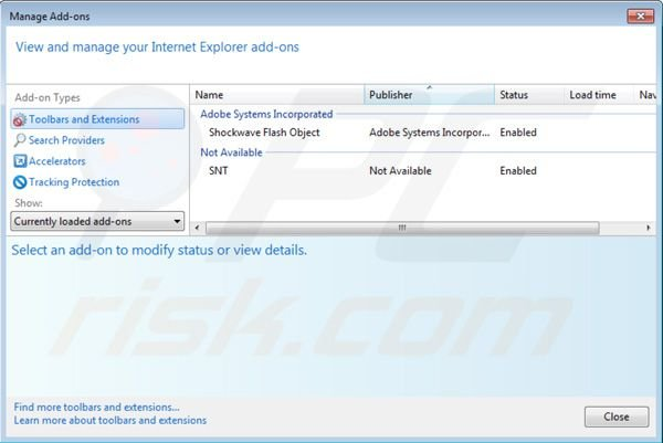 Removing websearch.webisgreat.info from Internet Explorer extensions