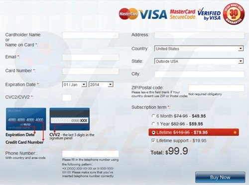 Windows Defence Master rogue payment website