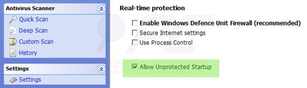 Allowing unprotected startup for Windows Defence Master