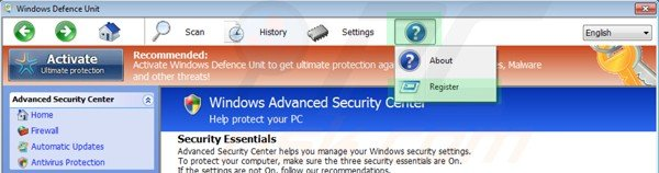 Windows Defence Unit removal using registration key step 1
