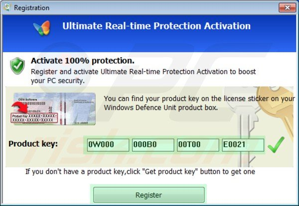 Windows Defence Unit removal using registration key step 2