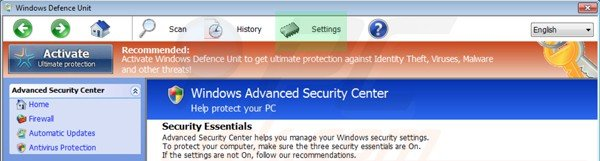 Windows Defence Unit settings