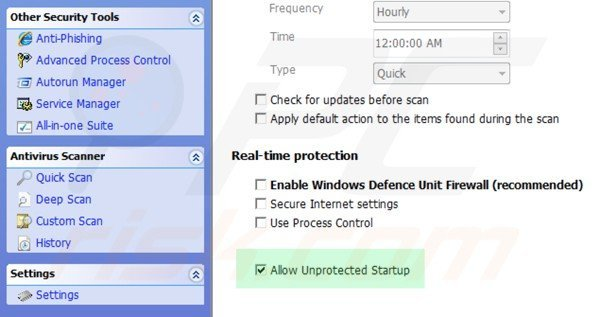 Windows Defence Unit unprotected startup