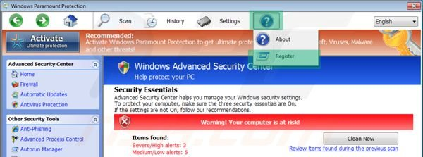 Registering Windows Paramount Protection step 1