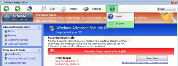 Registering Windows Safety Master step 1