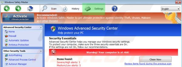 Windows Safety Master accessing settings tab