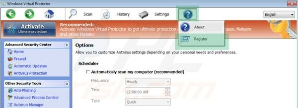 Windows Virtual Protector registration step 1