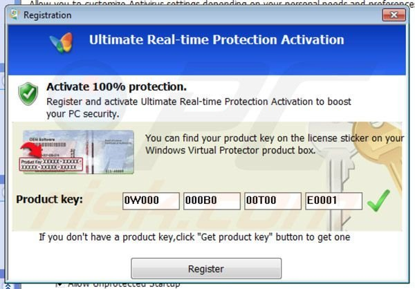 Windows Virtual Protector registration step 2