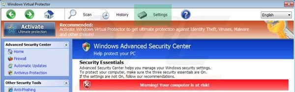 Accessing Windows Virtual Protector settings
