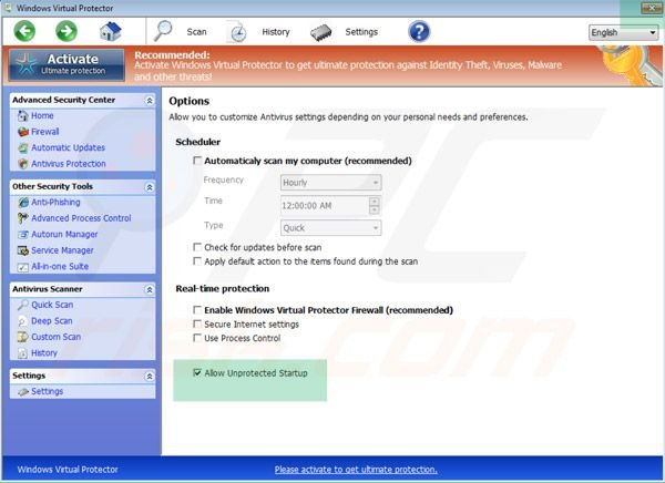 Selecting Windows Virtual Protector unprotected startup