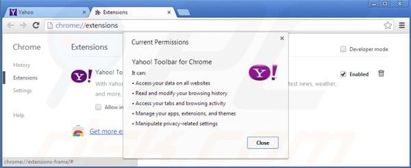Removing Yahoo toolbar from Google Chrome extensions