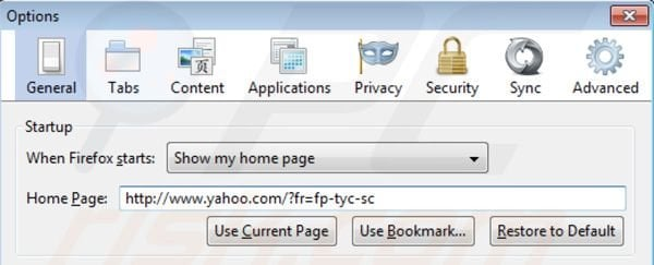Removing Yahoo toolbar from Mozilla Firefox homepage