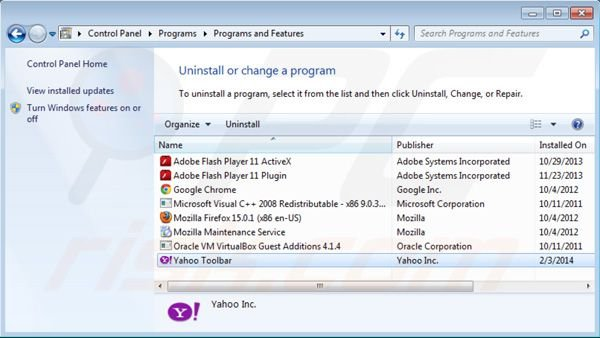 Yahoo toolbar uninstall using Control Panel
