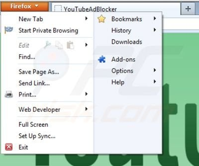 Removing Youtubeadblocker from Mozilla Firefox step 1
