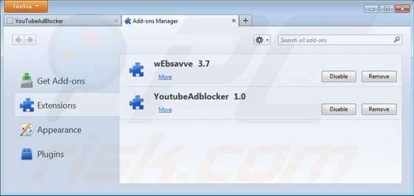 Removing Youtubeadblocker from Mozilla Firefox step 2