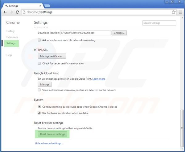 Reseting Google Chrome settings