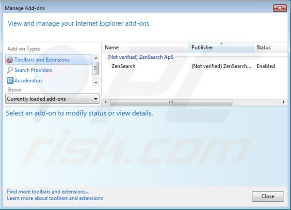 Removing zensearch.com from Internet Explorer extensions