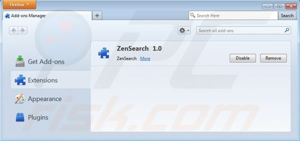 Removing zensearch.com from Mozilla Firefox extensions