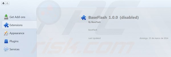 Removing baseflash from Mozilla Firefox step 2