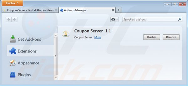 Removing coupon server from Mozilla Firefox step 2