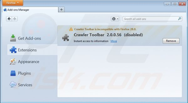 Removing crawler toolbar from Mozilla Firefox extensions