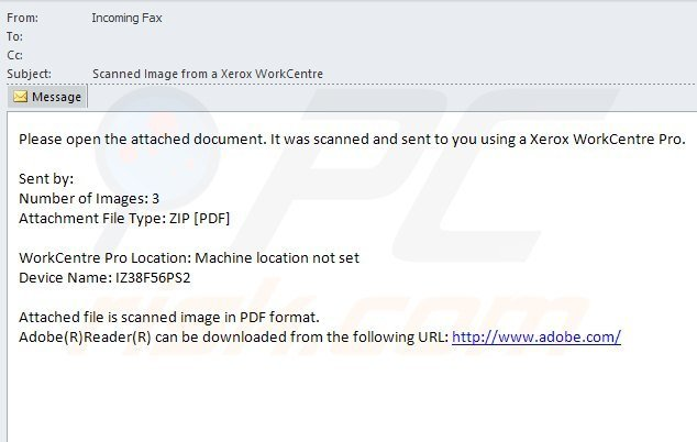 Infected email messages used in cryptodefense ransomware distribution