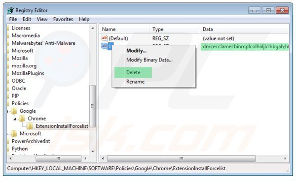 "Deleting the registry entry of an ""Installed by enterprise policy"" extension"
