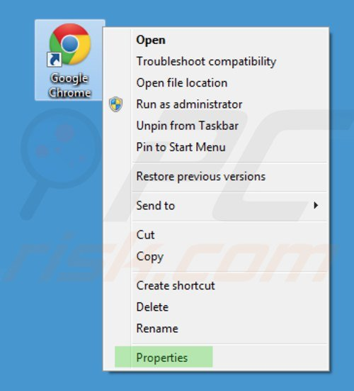 Removing key-find.com from Google Chrome shortcut target step 1