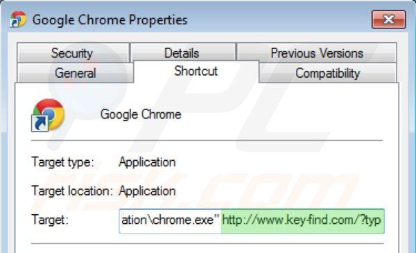 Removing key-find.com from Google Chrome shortcut target step 2