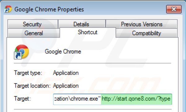 Removing start.qone8.com from Google Chrome shortcut target step 2