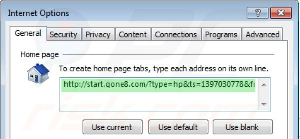 Removing start.qone8.com from Internet Explorer homepage