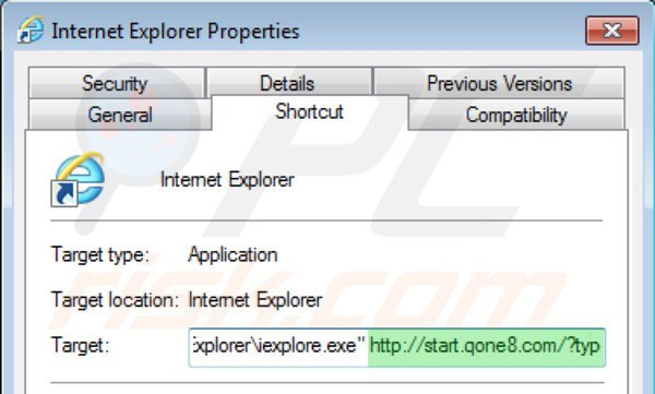 Removing start.qone8.com from Internet Explorer shortcut target step 2