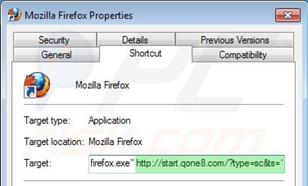 Removing start.qone8.com from Mozilla Firefox shortcut target step 2