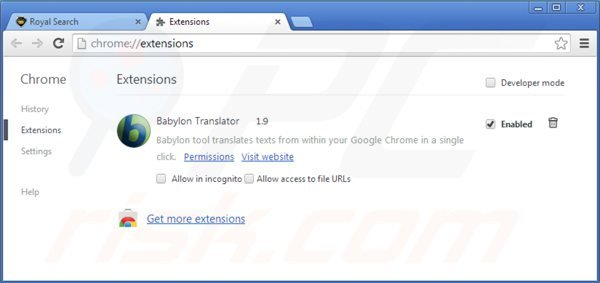Removing royal-search.com from Google Chrome extensions