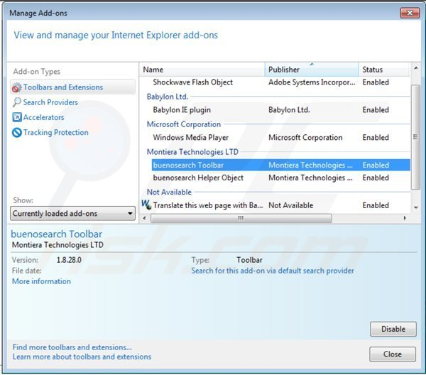 Removing royal-search toolbar from Internet explorer extensions