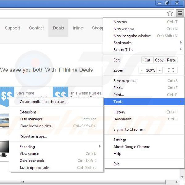 Removing TTinline from Google Chrome step 1