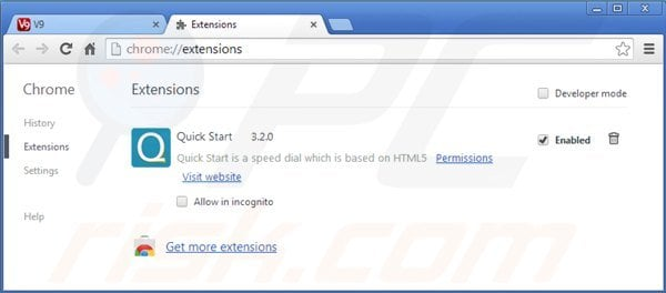 Removing v9.com related Google Chrome extensions